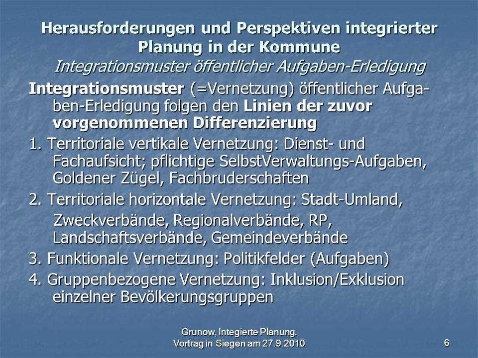 Grunow, Integierte Planung. Vortrag in Siegen am 27.9.20106 Herausforderungen und Perspektiven integrierter Planung in der Kommune Integrationsmuster
