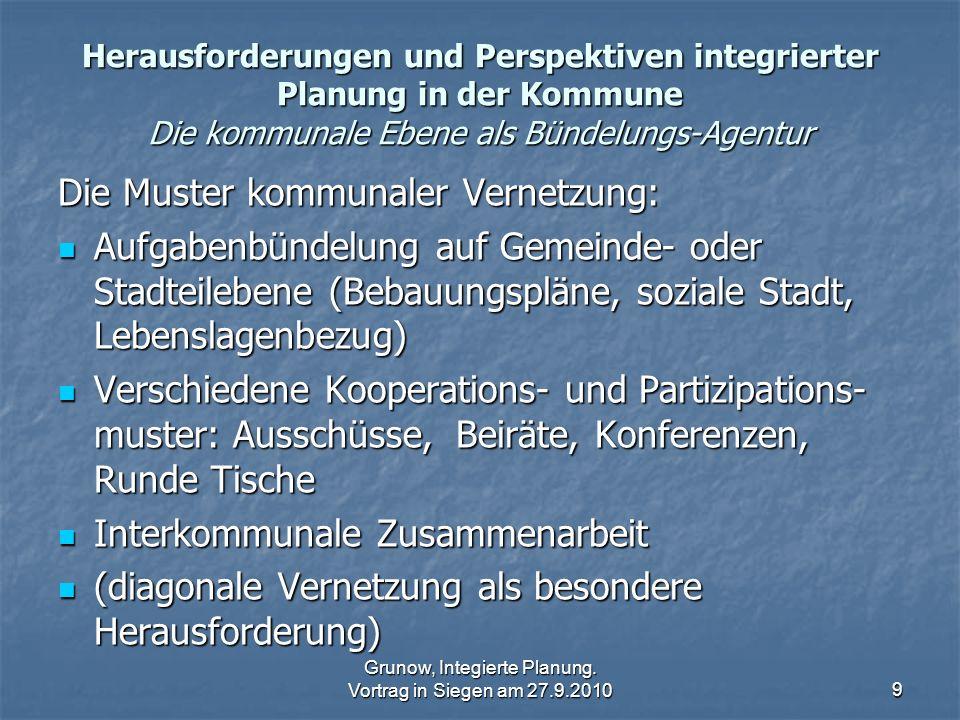 Grunow, Integierte Planung. Vortrag in Siegen am 27.9.20109 Herausforderungen und Perspektiven integrierter Planung in der Kommune Die kommunale Ebene