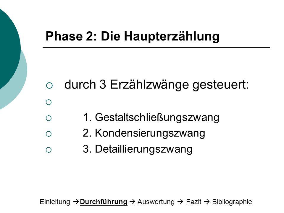 Phase 2: Die Haupterzählung durch 3 Erzählzwänge gesteuert: 1. Gestaltschließungszwang 2. Kondensierungszwang 3. Detaillierungszwang Einleitung Durchf