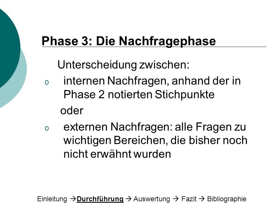 Phase 3: Die Nachfragephase Unterscheidung zwischen: o internen Nachfragen, anhand der in Phase 2 notierten Stichpunkte oder o externen Nachfragen: al