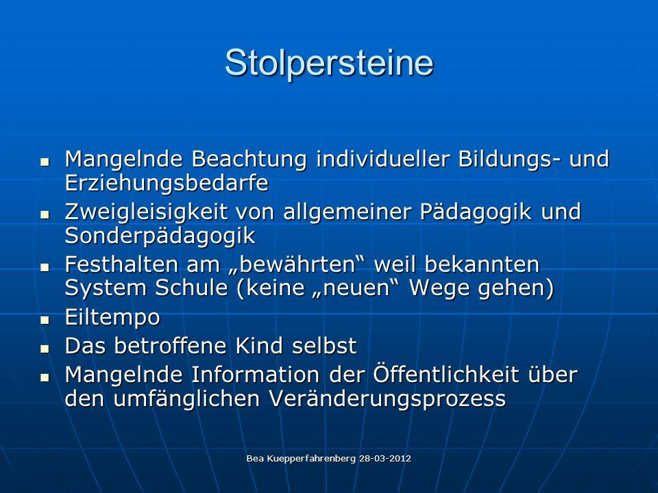 Bea Kuepperfahrenberg 28-03-2012 Stolpersteine Mangelnde Beachtung individueller Bildungs- und Erziehungsbedarfe Mangelnde Beachtung individueller Bil