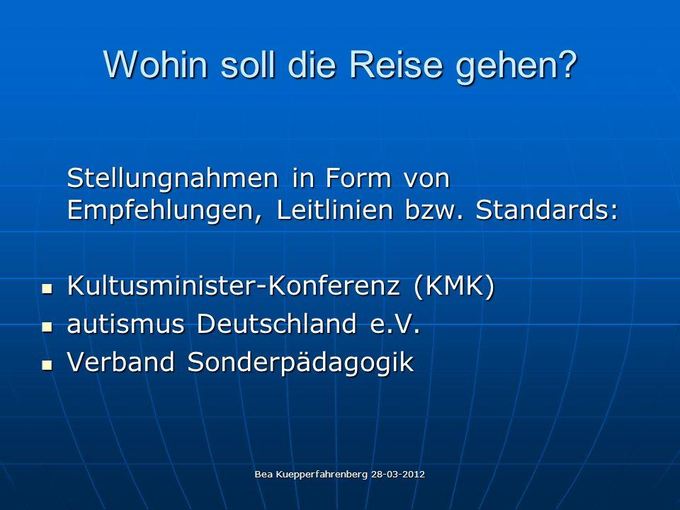Bea Kuepperfahrenberg 28-03-2012 Wohin soll die Reise gehen? Stellungnahmen in Form von Empfehlungen, Leitlinien bzw. Standards: Kultusminister-Konfer