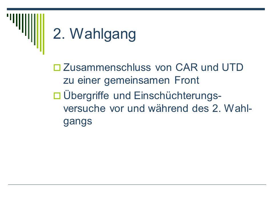 2. Wahlgang Zusammenschluss von CAR und UTD zu einer gemeinsamen Front Übergriffe und Einschüchterungs- versuche vor und während des 2. Wahl- gangs
