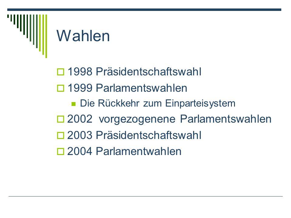 Wahlen 1998 Präsidentschaftswahl 1999 Parlamentswahlen Die Rückkehr zum Einparteisystem 2002 vorgezogenene Parlamentswahlen 2003 Präsidentschaftswahl 2004 Parlamentwahlen