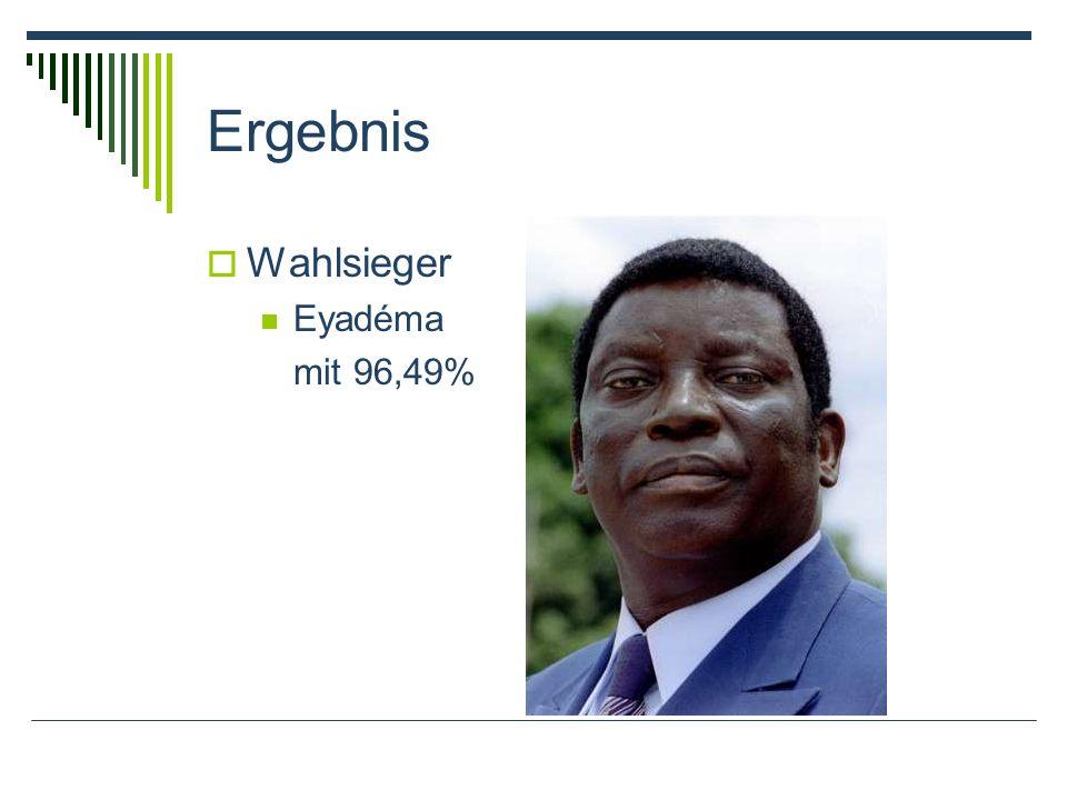Ergebnis Wahlsieger Eyadéma mit 96,49%