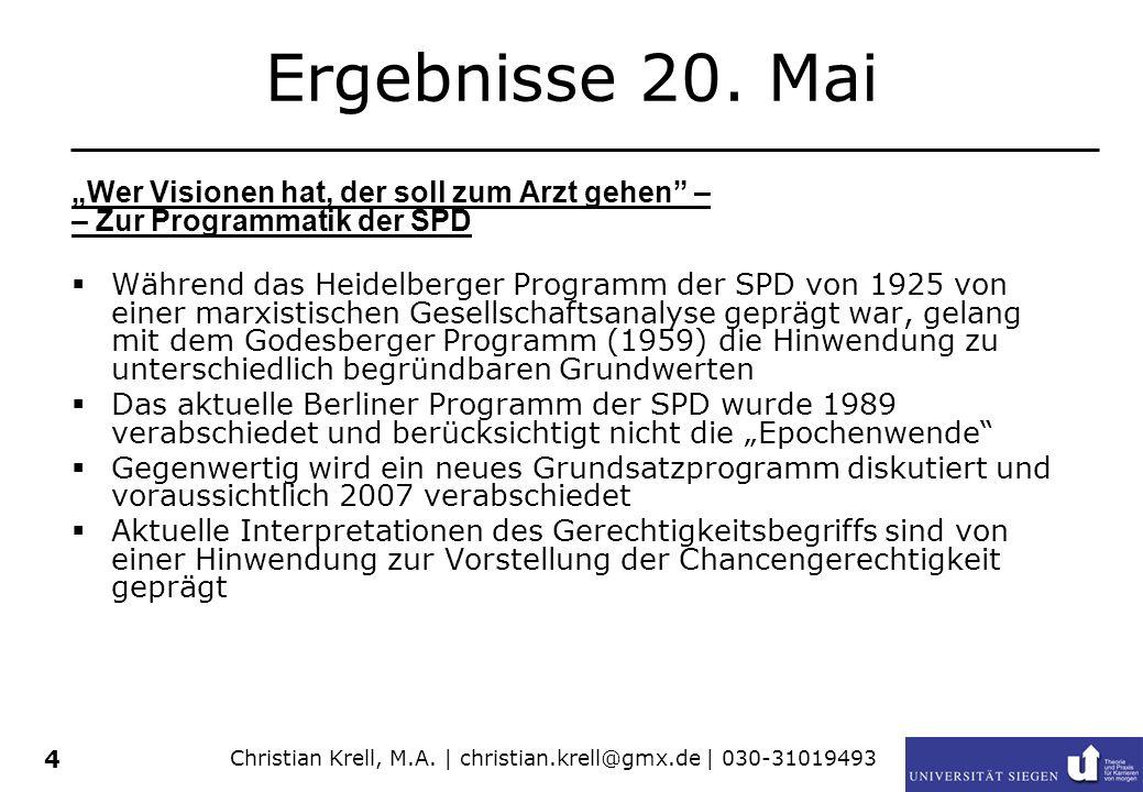 Christian Krell, M.A. | christian.krell@gmx.de | 030-31019493 4 Ergebnisse 20. Mai Wer Visionen hat, der soll zum Arzt gehen – – Zur Programmatik der