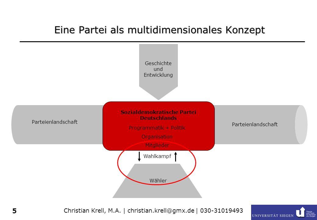 Christian Krell, M.A. | christian.krell@gmx.de | 030-31019493 5 Eine Partei als multidimensionales Konzept Sozialdemokratische Partei Deutschlands Ges