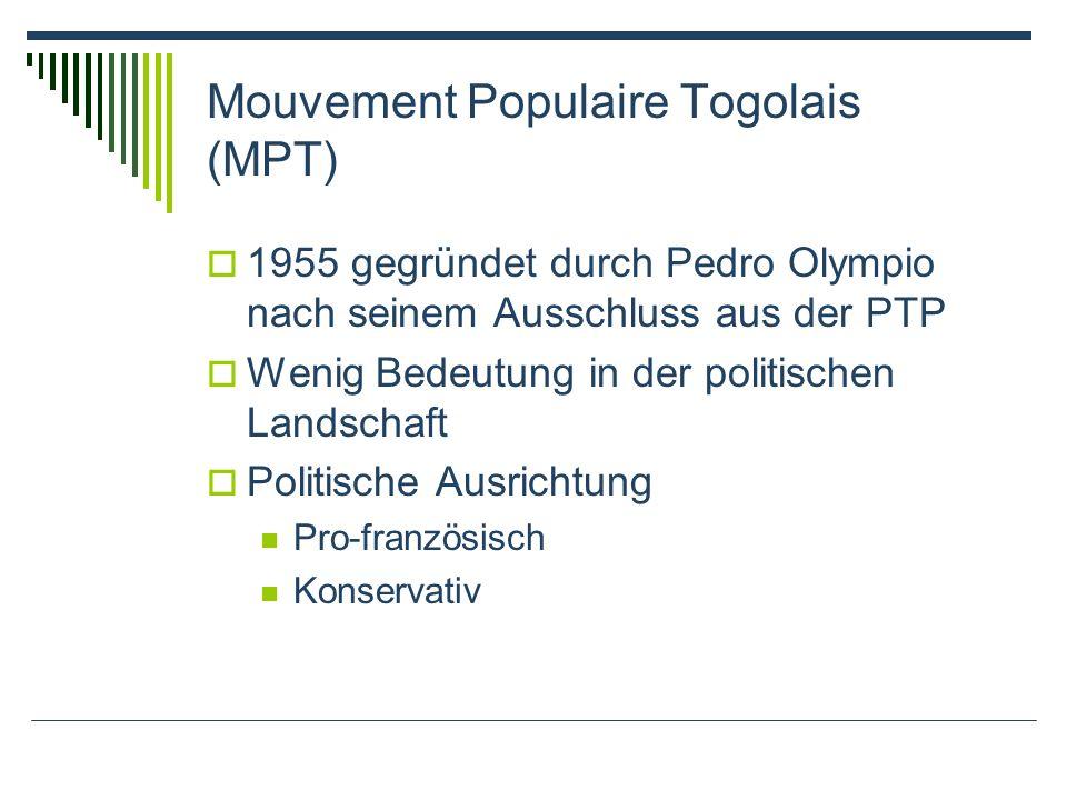 Mouvement Populaire Togolais (MPT) 1955 gegründet durch Pedro Olympio nach seinem Ausschluss aus der PTP Wenig Bedeutung in der politischen Landschaft Politische Ausrichtung Pro-französisch Konservativ