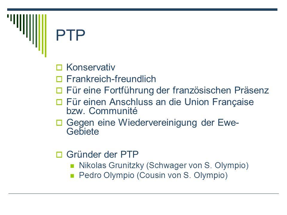 PTP Konservativ Frankreich-freundlich Für eine Fortführung der französischen Präsenz Für einen Anschluss an die Union Française bzw.