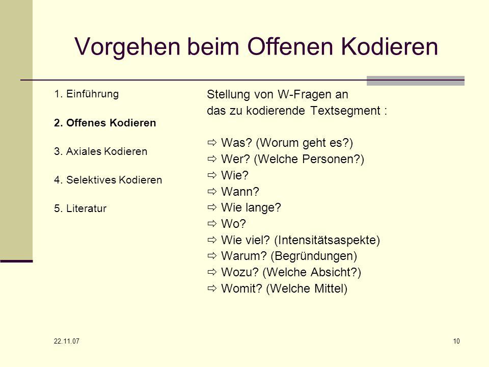 22.11.07 10 Vorgehen beim Offenen Kodieren 1. Einführung 2. Offenes Kodieren 3. Axiales Kodieren 4. Selektives Kodieren 5. Literatur Stellung von W-Fr