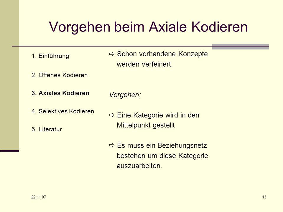 22.11.07 13 Vorgehen beim Axiale Kodieren Schon vorhandene Konzepte werden verfeinert. Vorgehen: Eine Kategorie wird in den Mittelpunkt gestellt Es mu
