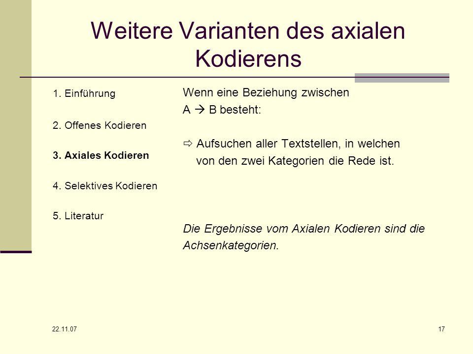 22.11.07 17 Weitere Varianten des axialen Kodierens 1. Einführung 2. Offenes Kodieren 3. Axiales Kodieren 4. Selektives Kodieren 5. Literatur Wenn ein