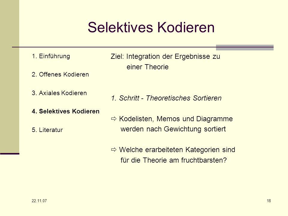 22.11.07 18 Selektives Kodieren 1. Einführung 2. Offenes Kodieren 3. Axiales Kodieren 4. Selektives Kodieren 5. Literatur Ziel: Integration der Ergebn