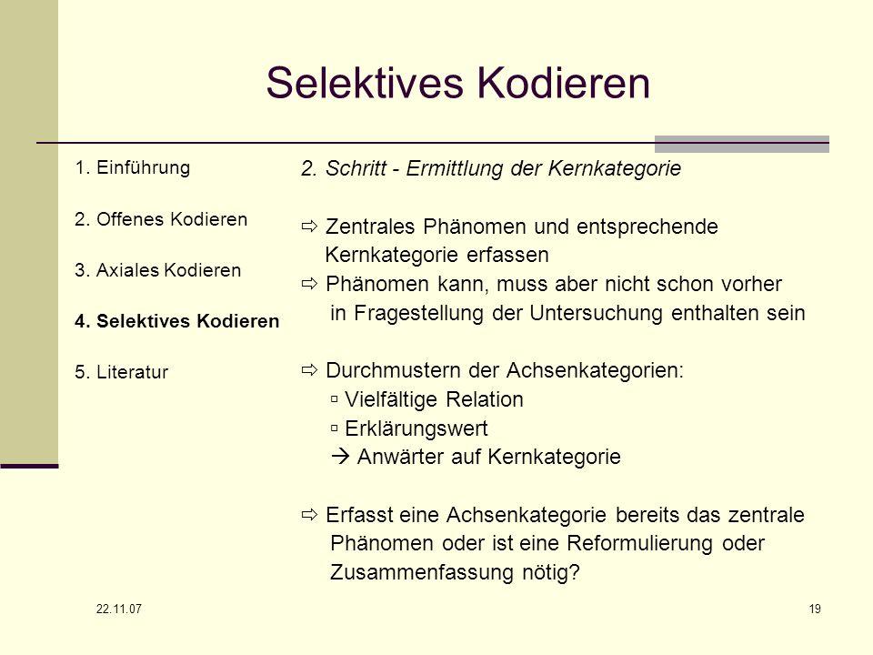 22.11.07 19 Selektives Kodieren 1. Einführung 2. Offenes Kodieren 3. Axiales Kodieren 4. Selektives Kodieren 5. Literatur 2. Schritt - Ermittlung der