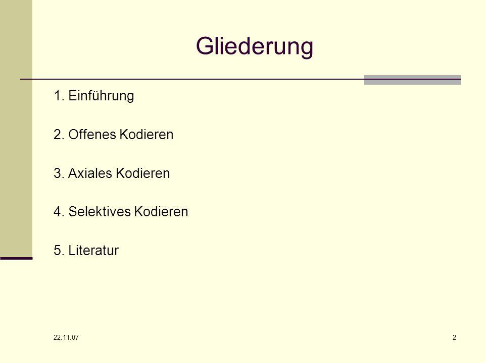 22.11.07 2 Gliederung 1. Einführung 2. Offenes Kodieren 3. Axiales Kodieren 4. Selektives Kodieren 5. Literatur
