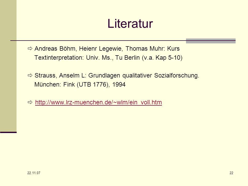 22.11.07 22 Literatur Andreas Böhm, Heienr Legewie, Thomas Muhr: Kurs Textinterpretation: Univ. Ms., Tu Berlin (v.a. Kap 5-10) Strauss, Anselm L: Grun