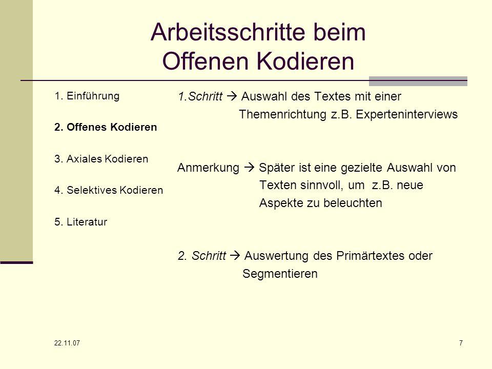 22.11.07 7 Arbeitsschritte beim Offenen Kodieren 1. Einführung 2. Offenes Kodieren 3. Axiales Kodieren 4. Selektives Kodieren 5. Literatur 1.Schritt A