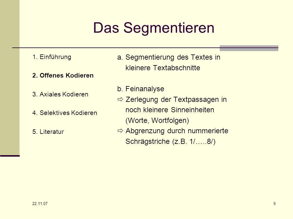 22.11.07 9 Das Segmentieren 1. Einführung 2. Offenes Kodieren 3. Axiales Kodieren 4. Selektives Kodieren 5. Literatur a. Segmentierung des Textes in k