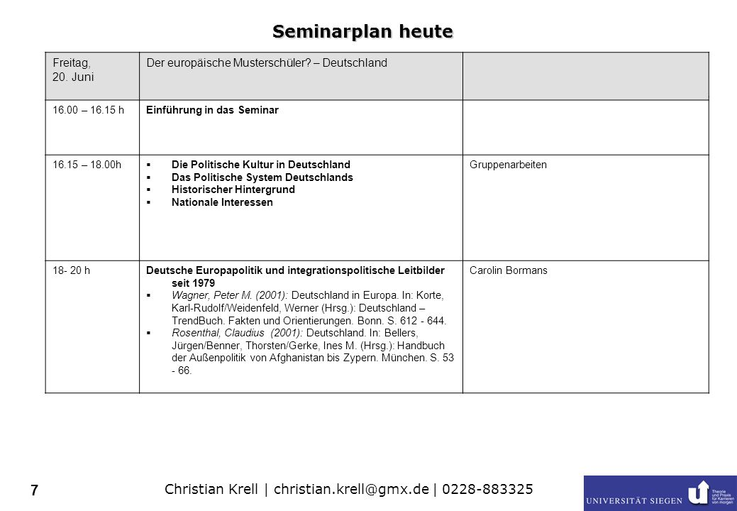 Christian Krell | christian.krell@gmx.de | 0228-883325 7 Freitag, 20.