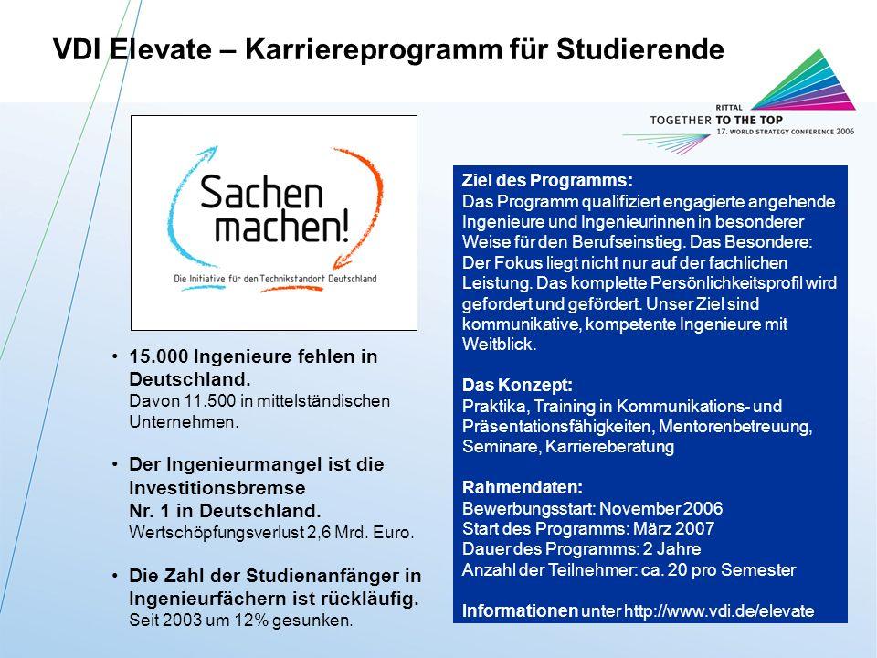 Rittal BZ-StrategieM.Roßmann / FuE-IT / 11.10.2006 27 15.000 Ingenieure fehlen in Deutschland.