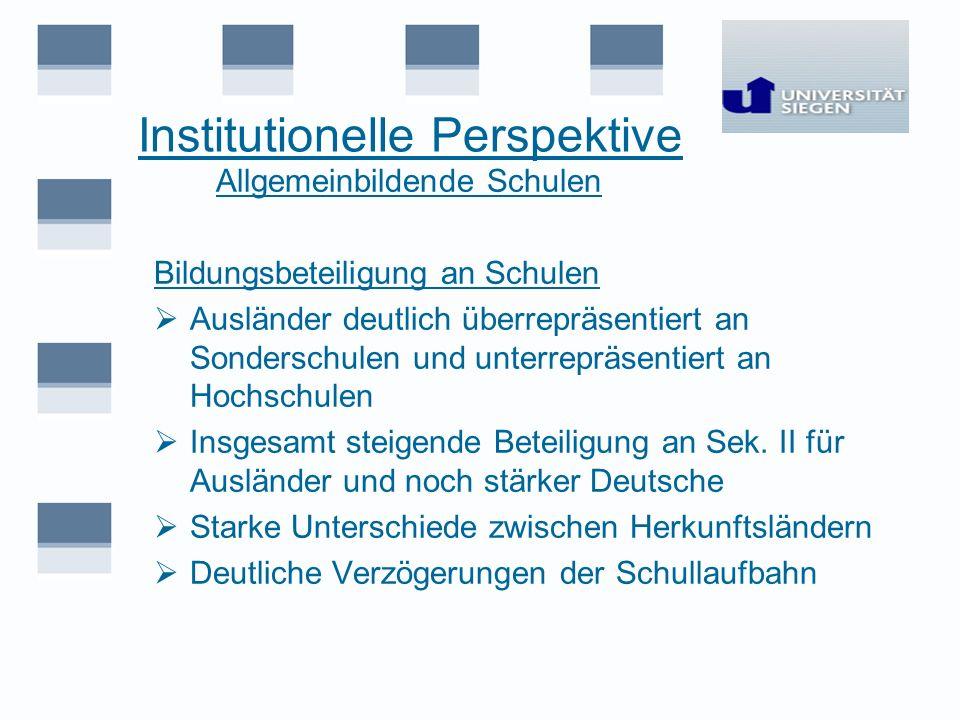 Institutionelle Perspektive Allgemeinbildende Schulen Bildungsbeteiligung an Schulen Ausländer deutlich überrepräsentiert an Sonderschulen und unterre