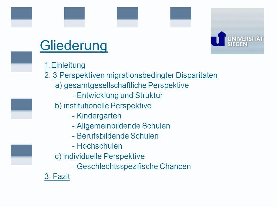 Gliederung 1.Einleitung 2. 3 Perspektiven migrationsbedingter Disparitäten a) gesamtgesellschaftliche Perspektive - Entwicklung und Struktur b) instit