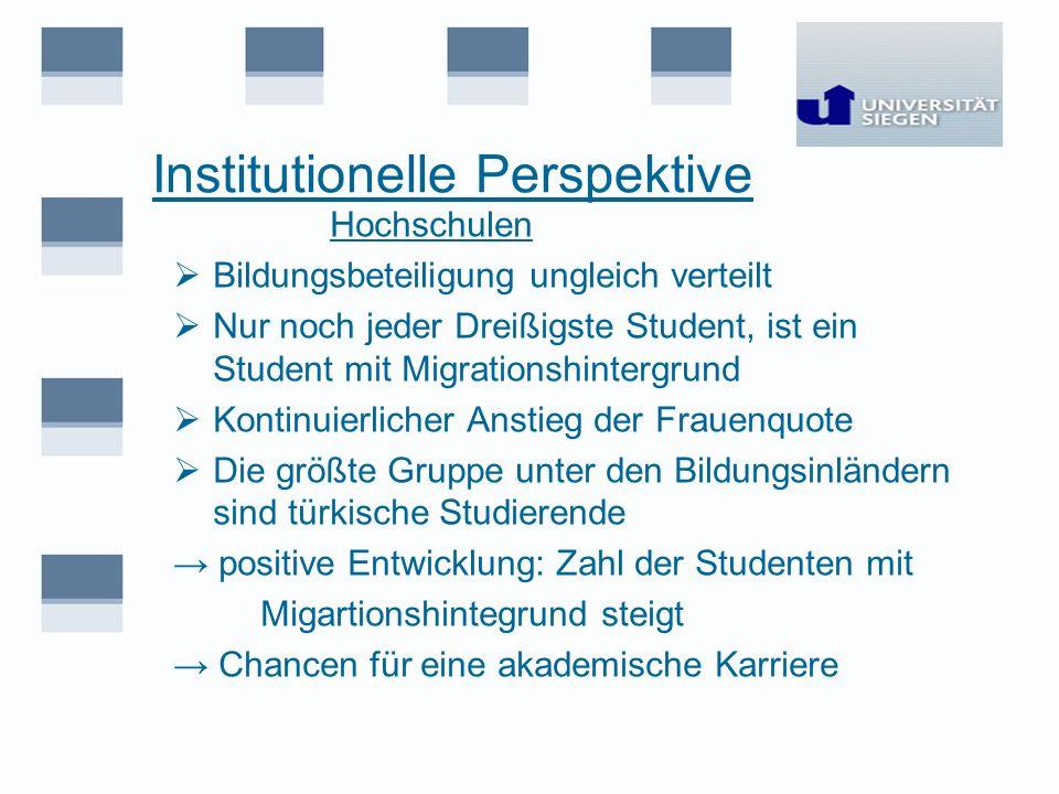 Institutionelle Perspektive Hochschulen Bildungsbeteiligung ungleich verteilt Nur noch jeder Dreißigste Student, ist ein Student mit Migrationshinterg