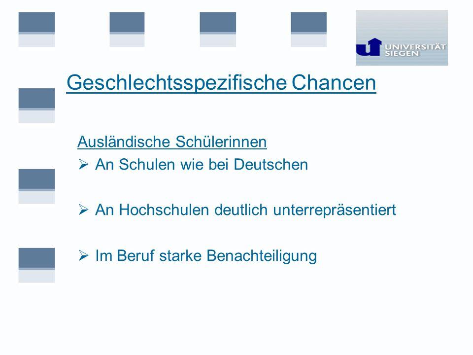 Geschlechtsspezifische Chancen Ausländische Schülerinnen An Schulen wie bei Deutschen An Hochschulen deutlich unterrepräsentiert Im Beruf starke Benac