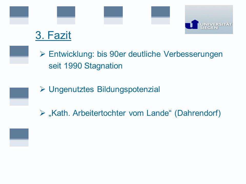 3. Fazit Entwicklung: bis 90er deutliche Verbesserungen seit 1990 Stagnation Ungenutztes Bildungspotenzial Kath. Arbeitertochter vom Lande (Dahrendorf
