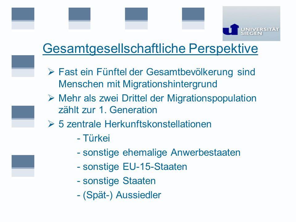 Gesamtgesellschaftliche Perspektive Fast ein Fünftel der Gesamtbevölkerung sind Menschen mit Migrationshintergrund Mehr als zwei Drittel der Migration