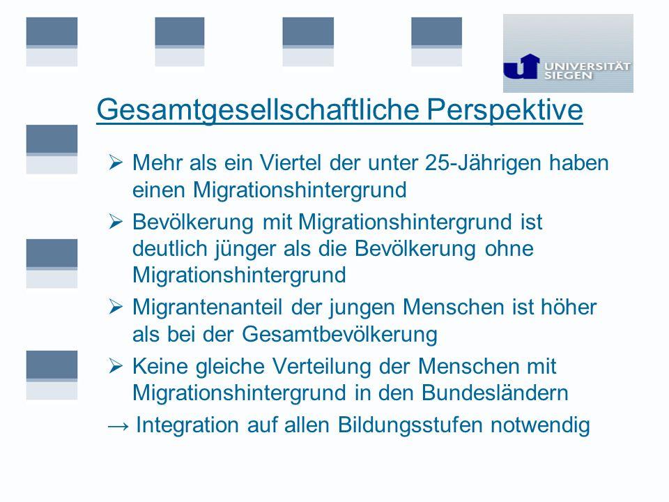 Gesamtgesellschaftliche Perspektive Mehr als ein Viertel der unter 25-Jährigen haben einen Migrationshintergrund Bevölkerung mit Migrationshintergrund