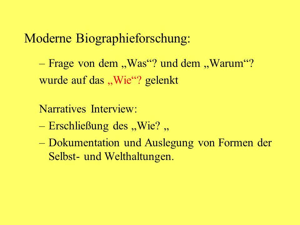 Moderne Biographieforschung: –Frage von dem Was? und dem Warum? wurde auf das Wie? gelenkt Narratives Interview: –Erschließung des Wie? –Dokumentation