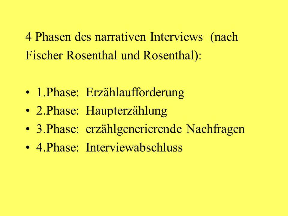 4 Phasen des narrativen Interviews (nach Fischer Rosenthal und Rosenthal): 1.Phase: Erzählaufforderung 2.Phase: Haupterzählung 3.Phase: erzählgenerierende Nachfragen 4.Phase: Interviewabschluss