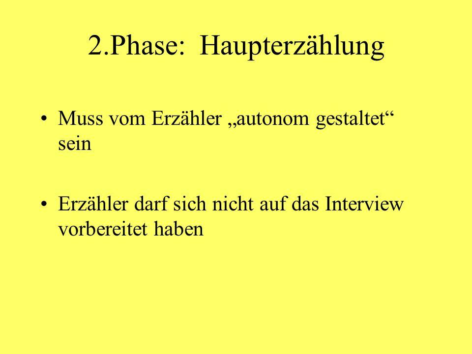2.Phase: Haupterzählung Muss vom Erzähler autonom gestaltet sein Erzähler darf sich nicht auf das Interview vorbereitet haben