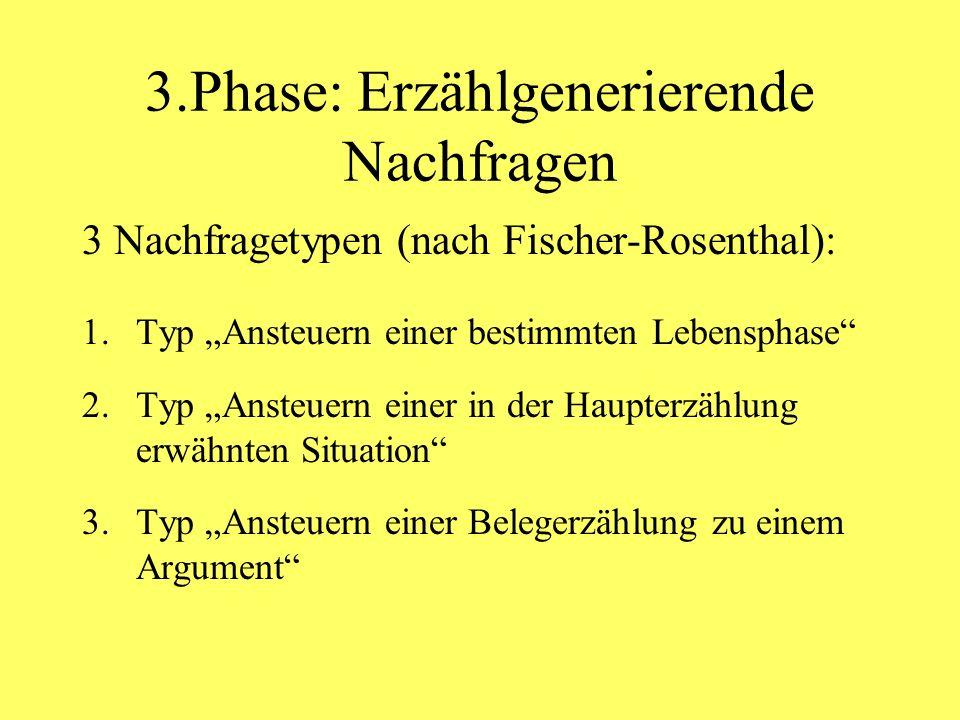 3.Phase: Erzählgenerierende Nachfragen 3 Nachfragetypen (nach Fischer-Rosenthal): 1.Typ Ansteuern einer bestimmten Lebensphase 2.Typ Ansteuern einer in der Haupterzählung erwähnten Situation 3.Typ Ansteuern einer Belegerzählung zu einem Argument