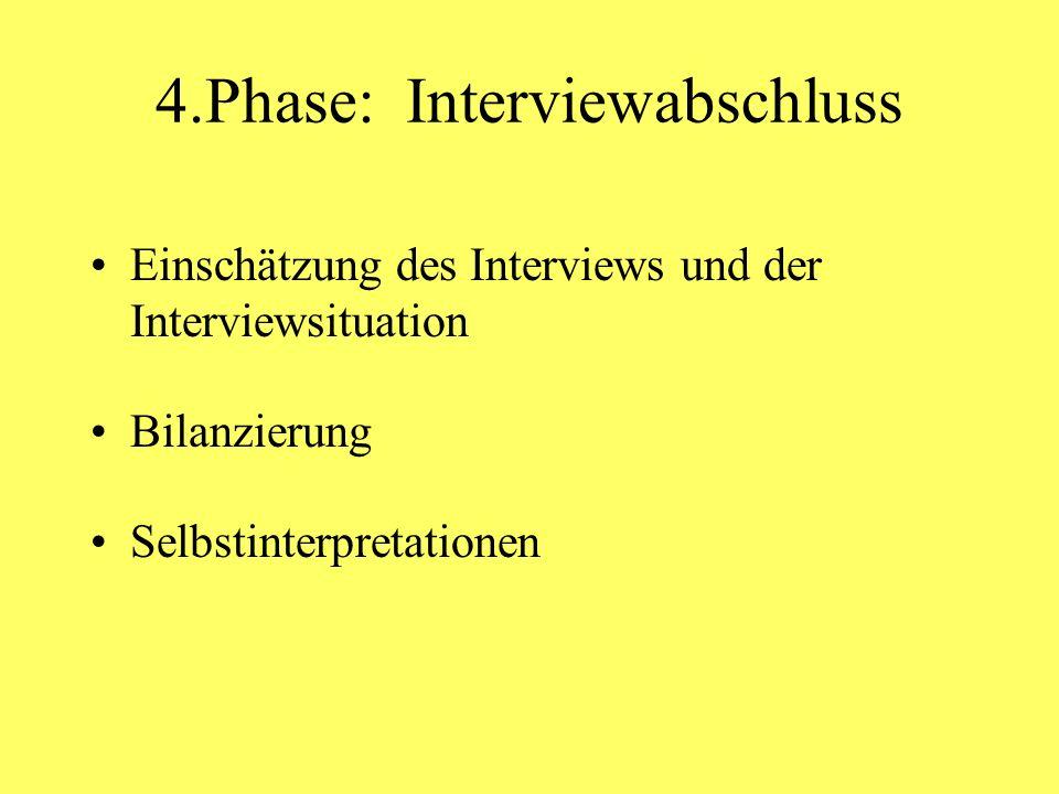 4.Phase: Interviewabschluss Einschätzung des Interviews und der Interviewsituation Bilanzierung Selbstinterpretationen