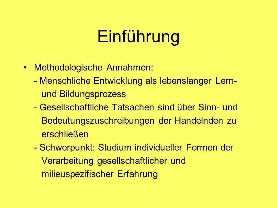 Einführung Methodologische Annahmen: - Menschliche Entwicklung als lebenslanger Lern- und Bildungsprozess - Gesellschaftliche Tatsachen sind über Sinn