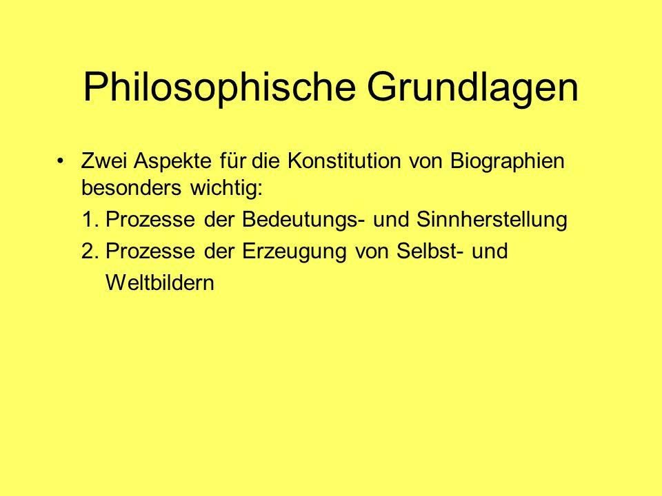 Philosophische Grundlagen Zwei Aspekte für die Konstitution von Biographien besonders wichtig: 1. Prozesse der Bedeutungs- und Sinnherstellung 2. Proz