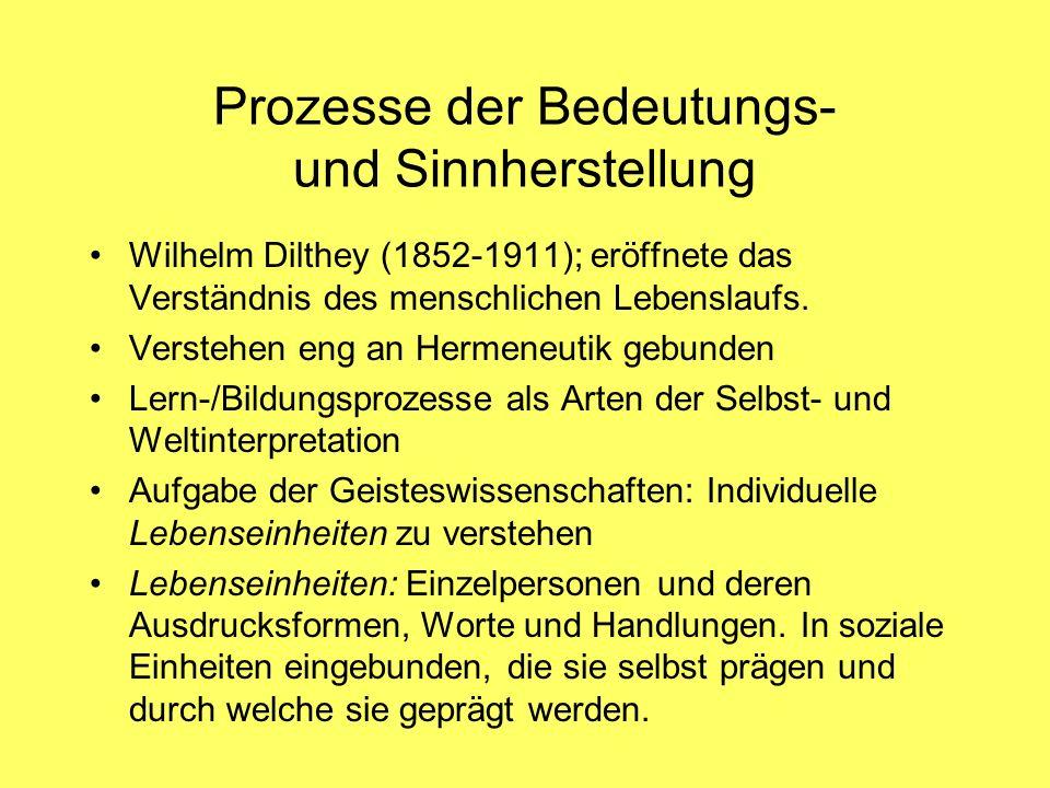Prozesse der Bedeutungs- und Sinnherstellung Wilhelm Dilthey (1852-1911); eröffnete das Verständnis des menschlichen Lebenslaufs. Verstehen eng an Her