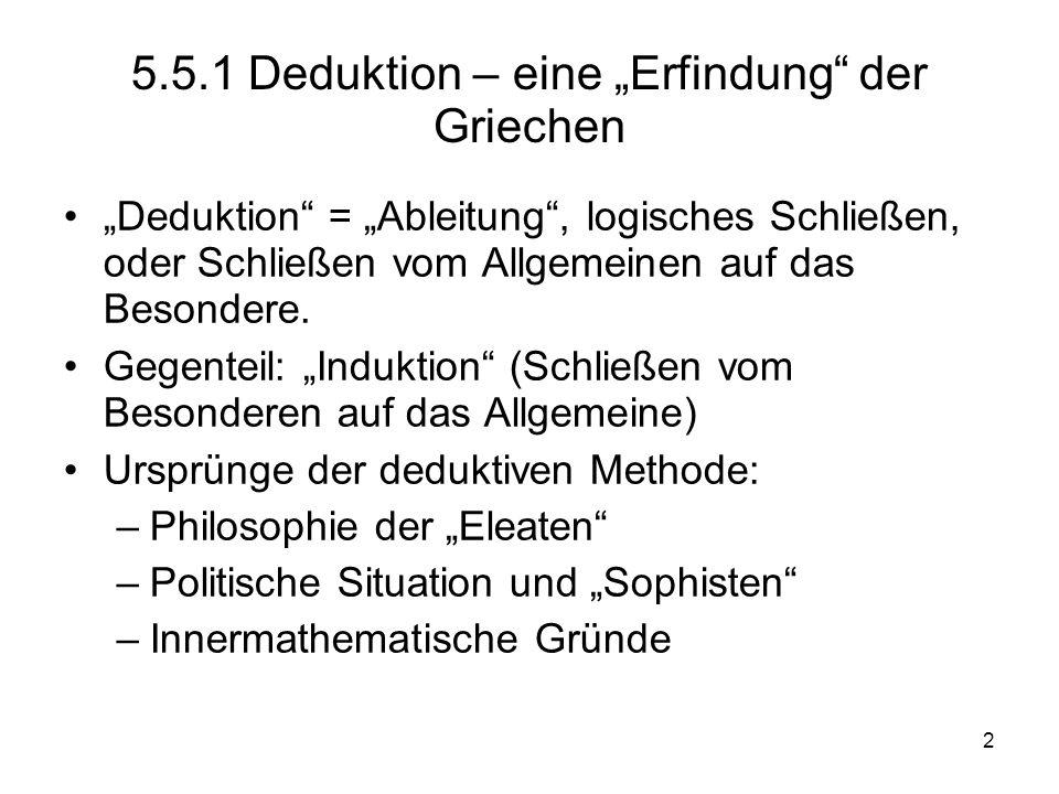 2 5.5.1 Deduktion – eine Erfindung der Griechen Deduktion = Ableitung, logisches Schließen, oder Schließen vom Allgemeinen auf das Besondere. Gegentei