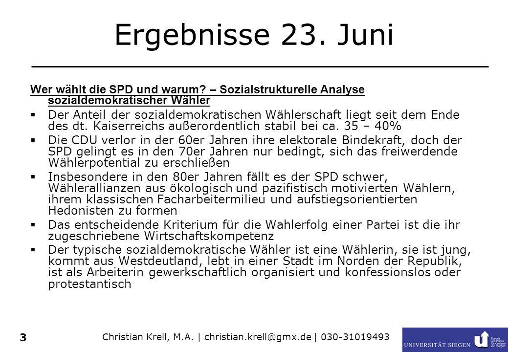 Christian Krell, M.A. | christian.krell@gmx.de | 030-31019493 3 Ergebnisse 23. Juni Wer wählt die SPD und warum? – Sozialstrukturelle Analyse sozialde