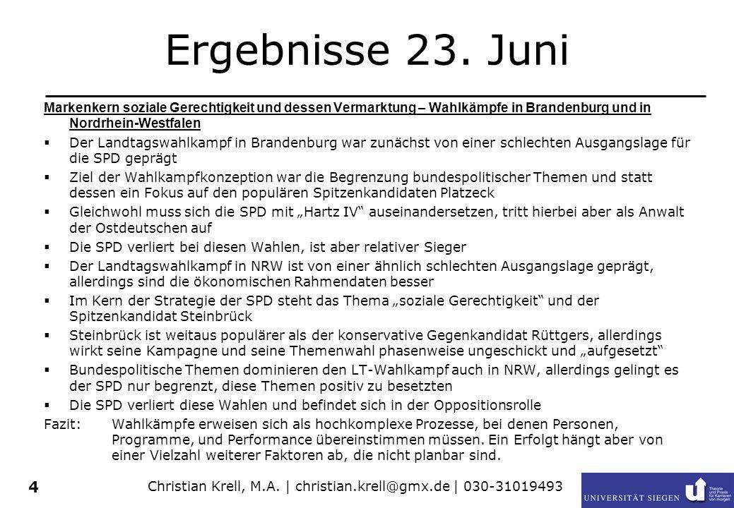 Christian Krell, M.A. | christian.krell@gmx.de | 030-31019493 4 Ergebnisse 23. Juni Markenkern soziale Gerechtigkeit und dessen Vermarktung – Wahlkämp