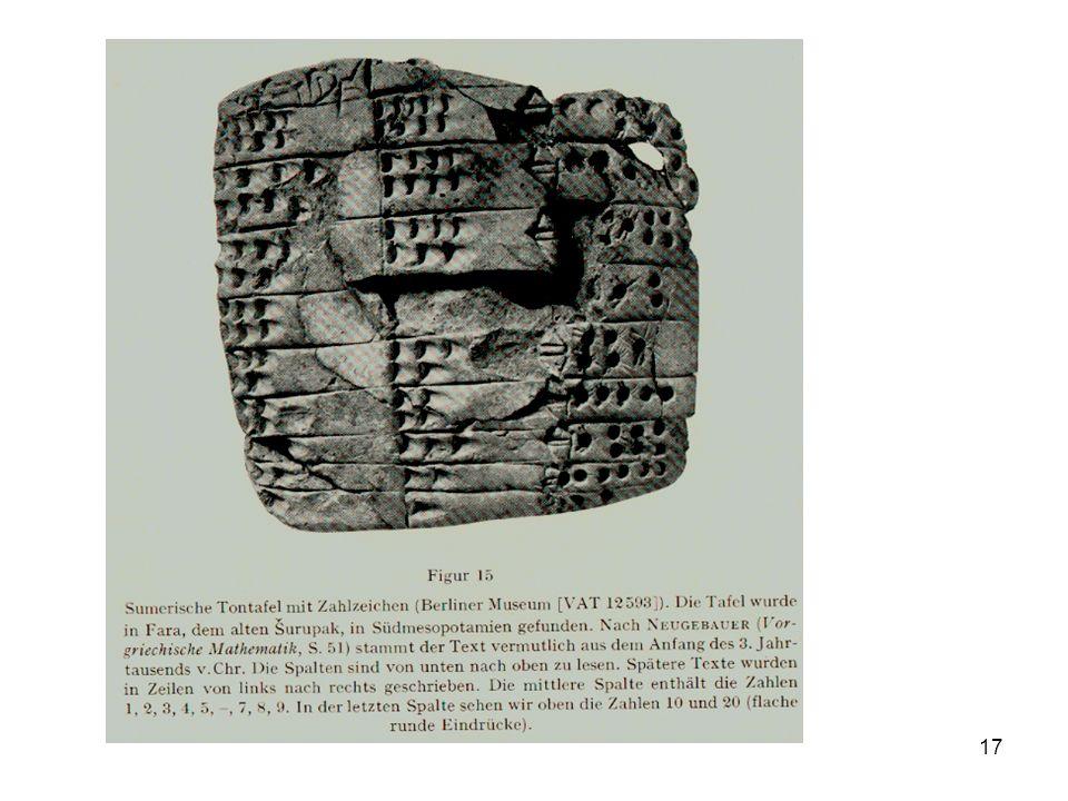 18 3.3. Keilschrift Stellenwertsystem mit Basis 60 ab ca. 2000 v.Chr.