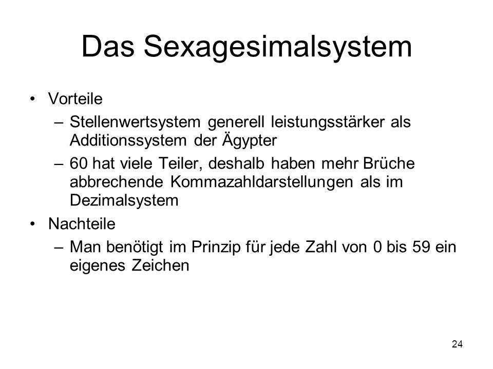 24 Das Sexagesimalsystem Vorteile –Stellenwertsystem generell leistungsstärker als Additionssystem der Ägypter –60 hat viele Teiler, deshalb haben meh