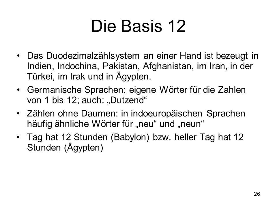 26 Die Basis 12 Das Duodezimalzählsystem an einer Hand ist bezeugt in Indien, Indochina, Pakistan, Afghanistan, im Iran, in der Türkei, im Irak und in
