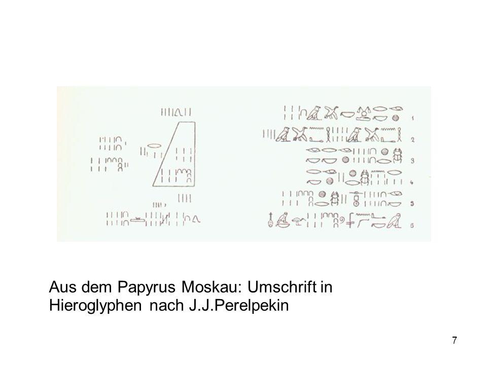 7 Aus dem Papyrus Moskau: Umschrift in Hieroglyphen nach J.J.Perelpekin