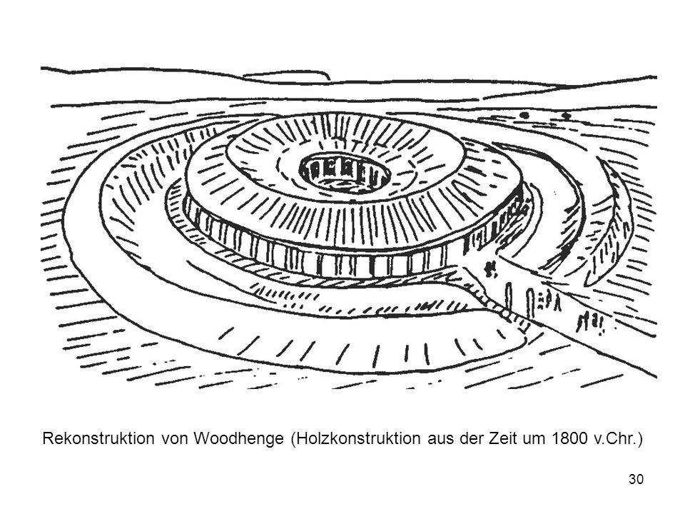 30 Rekonstruktion von Woodhenge (Holzkonstruktion aus der Zeit um 1800 v.Chr.)