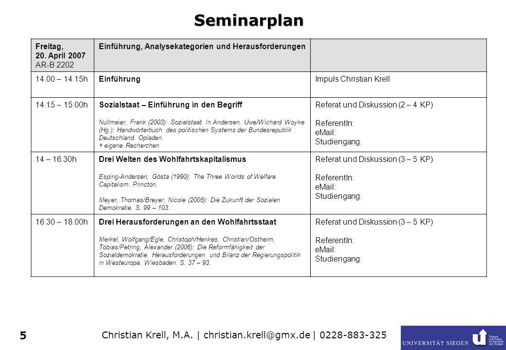 Christian Krell, M.A. | christian.krell@gmx.de | 0228-883-325 5 Seminarplan Freitag, 20. April 2007 AR-B 2202 Einführung, Analysekategorien und Heraus