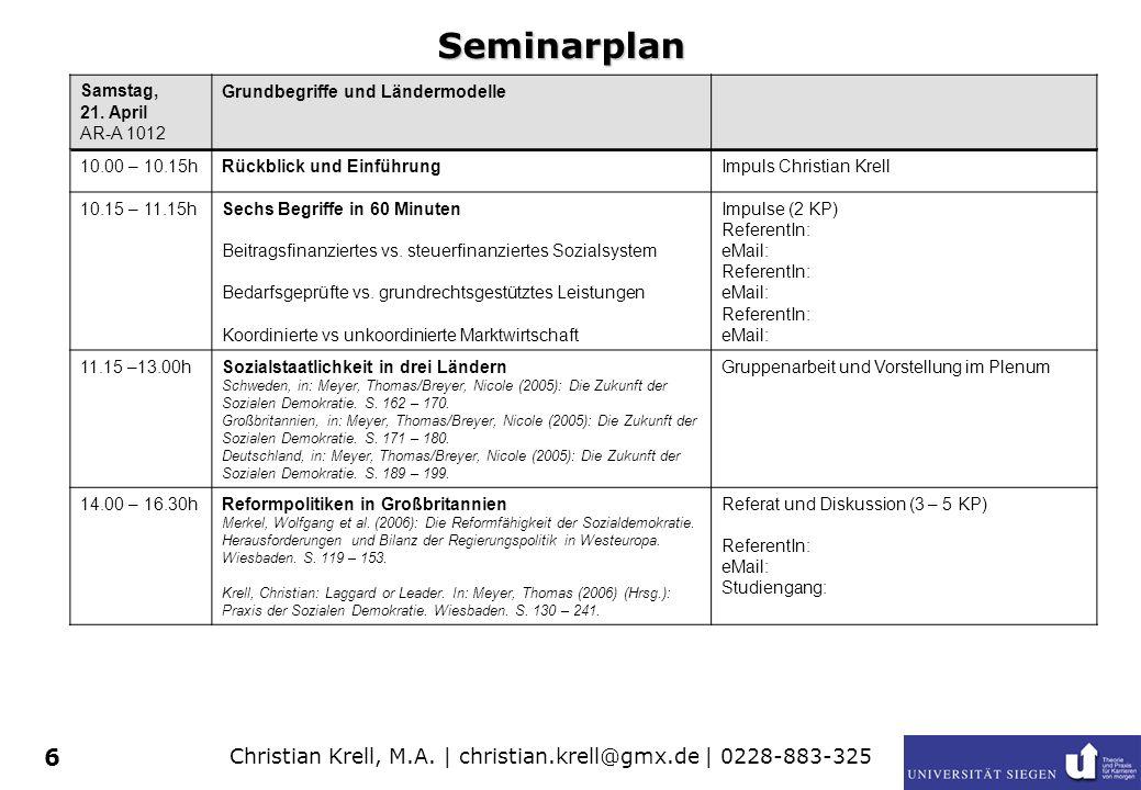 Christian Krell, M.A. | christian.krell@gmx.de | 0228-883-325 6 Seminarplan Samstag, 21. April AR-A 1012 Grundbegriffe und Ländermodelle 10.00 – 10.15