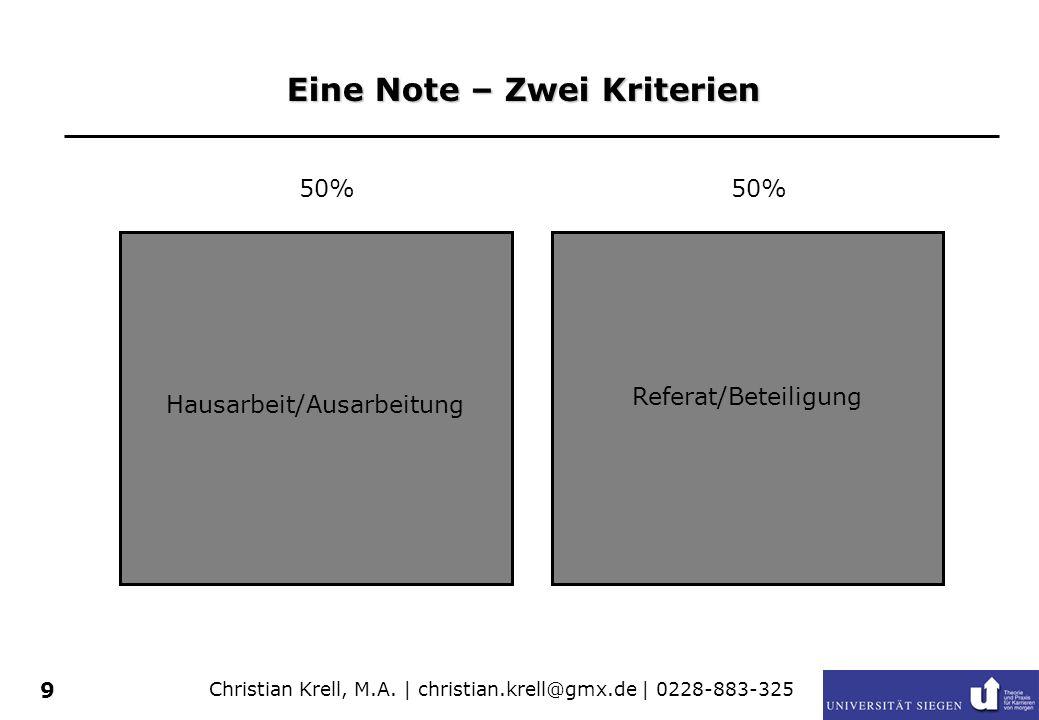 Christian Krell, M.A. | christian.krell@gmx.de | 0228-883-325 9 Eine Note – Zwei Kriterien Hausarbeit/Ausarbeitung Präsentation 50% Referat/Beteiligun